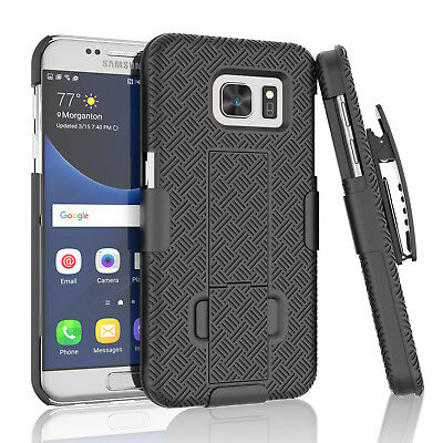 SAMSUNG GALAXY S7 SLIM SHELL HOLSTER BELT CLIP COMBO CASE COVER WITH KICKSTAND
