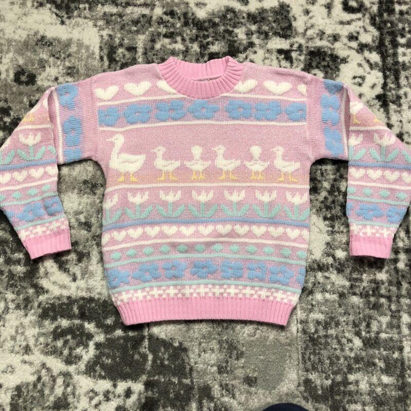Arielle Vintage Pastel Duck Sweater Kawaii Fairykei 80s 90s Rose XXS/XS Pink