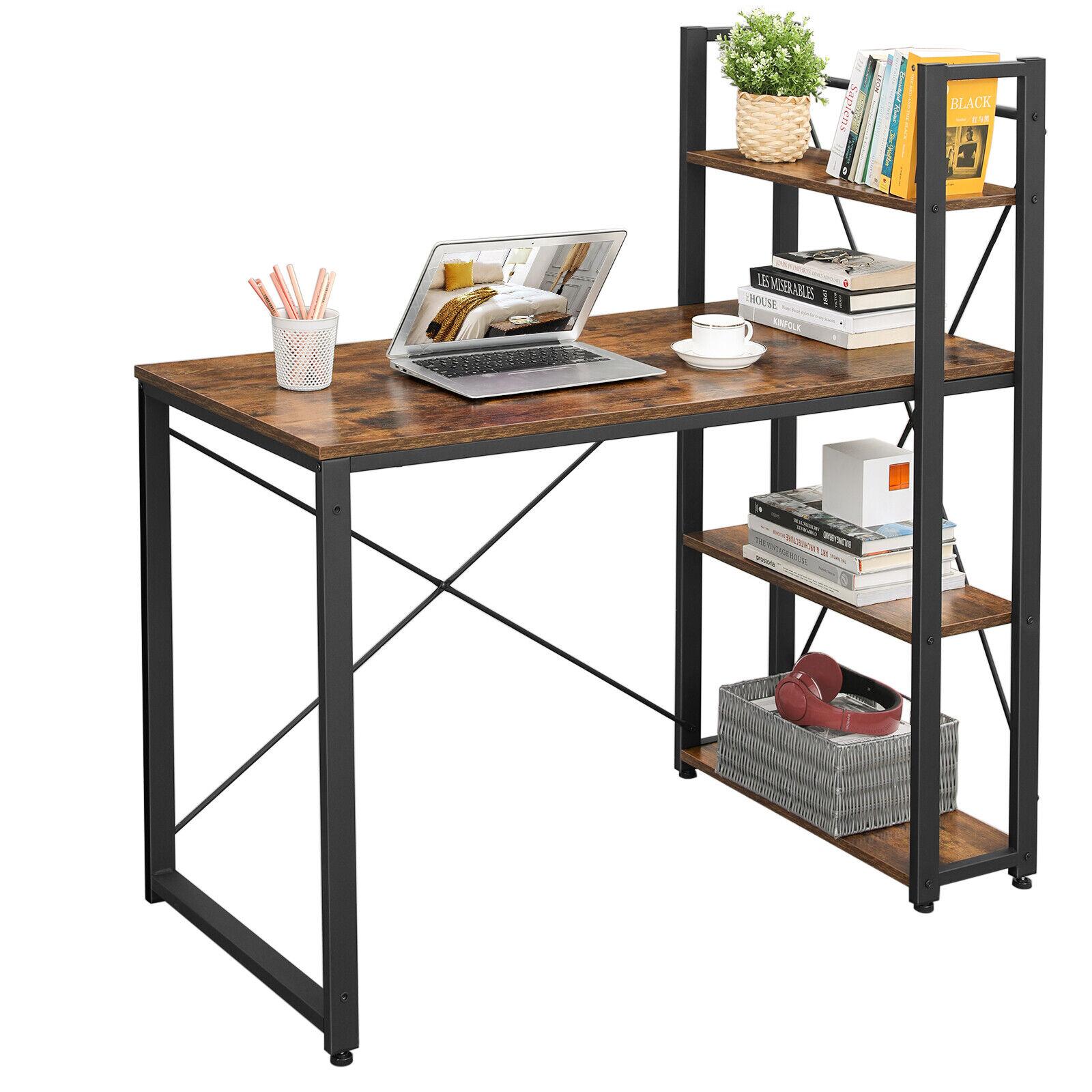 VASAGLE Computertisch Schreibtisch mit Regalböden, Bürotisch, Vintage LWD48X