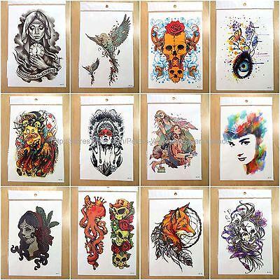 12pcs large arm temporary tattoo wholesale sugar skull eye fox fake - Sugar Skull Tatoo