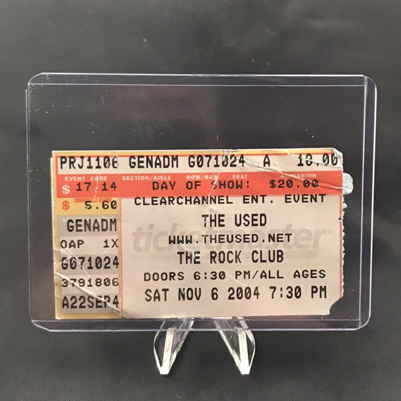 The Used Rock Club Pittsburgh PA Concert Ticket Stub Vintage November 6 2004