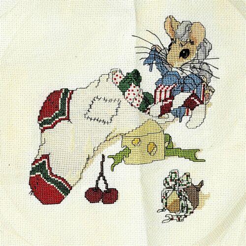 Finished Needlepoint Christmas Stocking Mouse Canvas