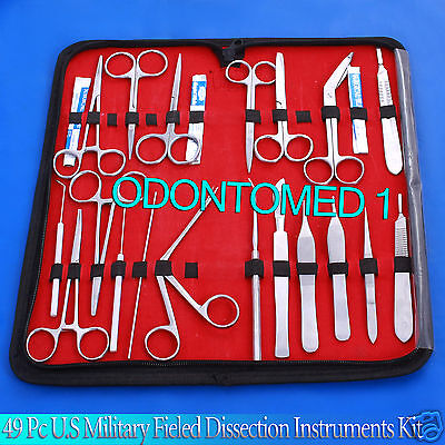 49 Pc Us Military Field Dissection Surgical Veterinary Instruments Kit Ds-1112