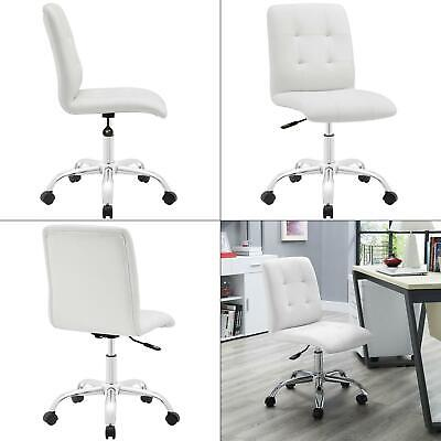 Prim Armless Mid Back Office Chair In White Modway Faux Leather Swivel Desk
