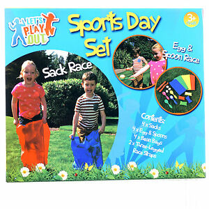 NEW SPORTS DAY SET GAMES EGG & SPOON SACK RACE CHILDRENS OUTDOOR GAME