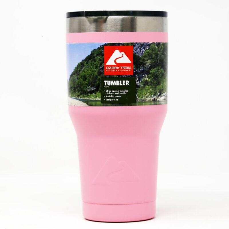 Ozark Trail Vacuum-Sealed Stainless Steel Tumbler, Pink, 30 oz, 1 Pack Brand New