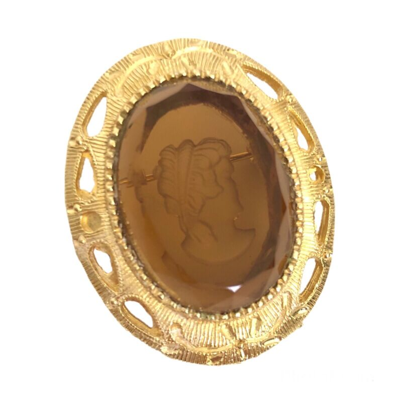 Intaglio Topaz Glass Cameo Style Brooch Pin Gold Tone Victorian Revival Vintage