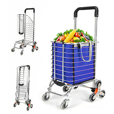 60l Folding Shopping Cart Utility Trolley Portable For Grocery Laundry Travel