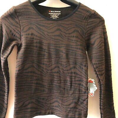 ❤️Bella Seamless Womens  Blouse Sz S/M Fleece Lined Brown/Black  Striped (Brown Striped Fleece)