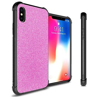 Hot Pink Glitter Design Slim Fit Hard Phone Cover Case for Apple iPhone XS / X Hot Pink Design