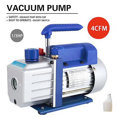 4 CFM 1/3HP Rotary Vane Deep Vacuum Pump 110V HVAC AC Refrigerant Charge Blue