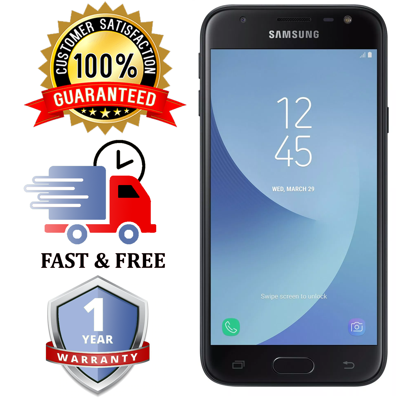 Android Phone - SAMSUNG PHONE GALAXY J3 2017-Black 16GB Android Mobile Phone |Unlocked |SIM FREE