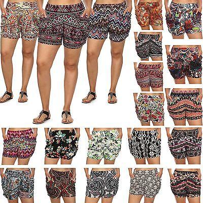 Women Fashion Stretchy Aztec Pattern Summer Beach Harem Shorts Short Plus Size