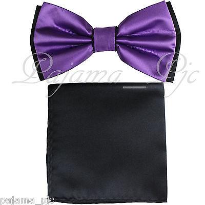 Wedding Black Purple Pre-tied Bow tie and Black Pocket Square Hankie Two Layers