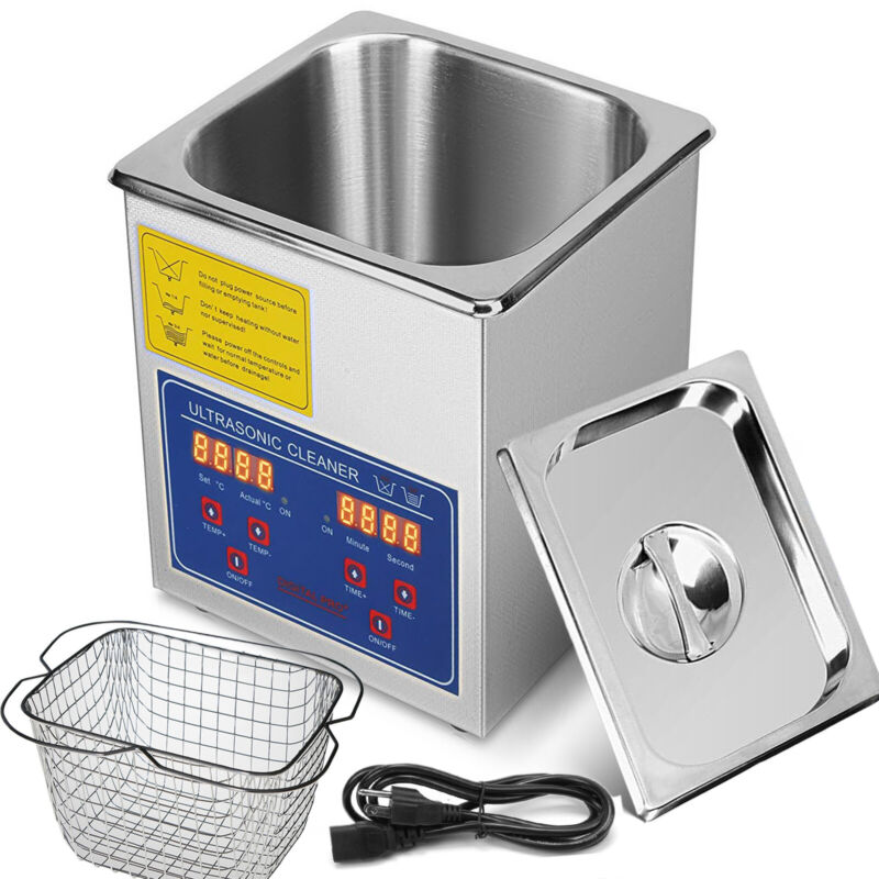 New 2 Liter Industry Heating Ultrasonic Cleaners Cleaning Equipment w/Timer
