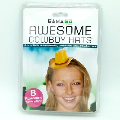 8 Mini Cowboy Hats Birthday Party Favor Folded Cardstock Photo Booth Selfie Prop (Cowboy Photobooth)