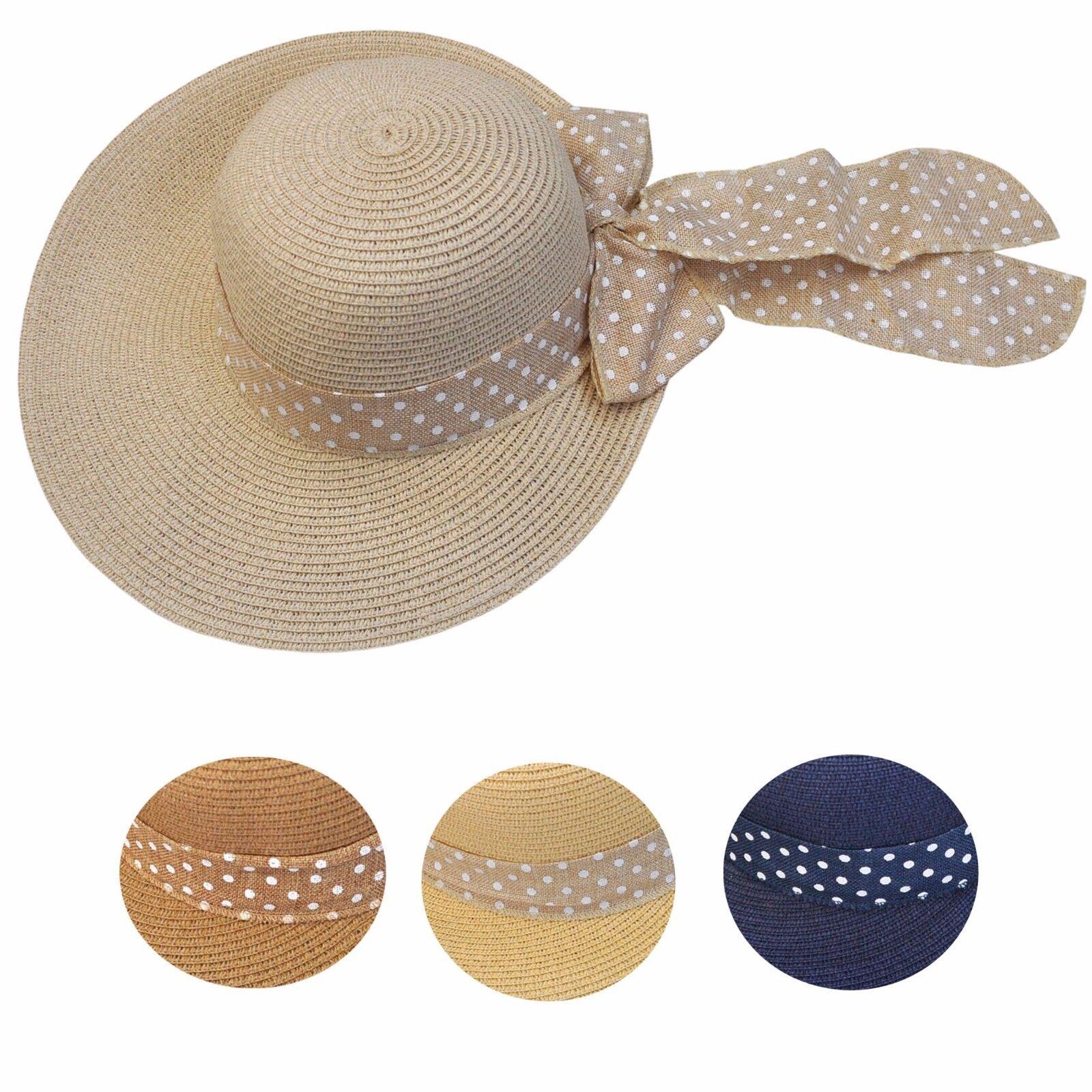 Hut Damen blau beige braun modern punkte Schleife Sommer Strand Karneval