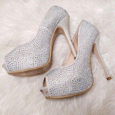 Bella Satin (Bella Luna Silver Satin Rhinestone Platform Stiletto Dress Pump Size)