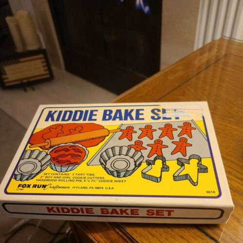 Vtg Fox Run Kiddie Bake Set-Wooden Rolling Pin, Cookie Sheet