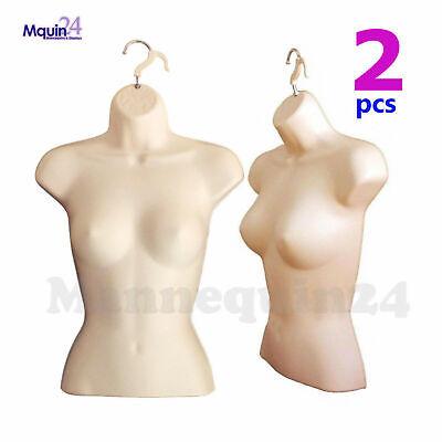 2 Pack Female Torso Dress Body Forms - Flesh Women Hanging Mannequins