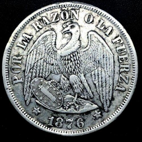 REPUBLIC CHILE 1876 SO (25 GRAM) UN (1) PESO  SILVER COIN AU++ KM# 142.1. #1