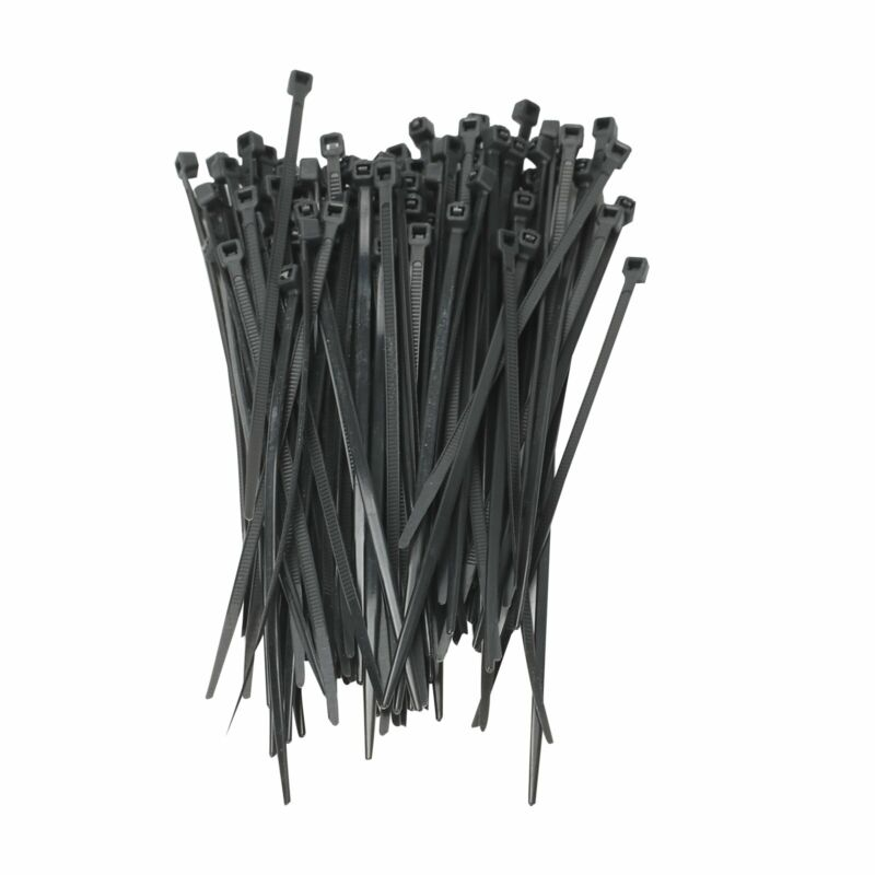 """100 Pack Lot Pcs - 8"""" Inch UV Resistant Nylon Cable Zip Wire Tie 40 lbs - Black"""