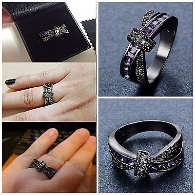Women Ring Criss Cross Style Cubic Zirconia Jewelry Rings Black Gold And Purple (Gold Criss Cross)