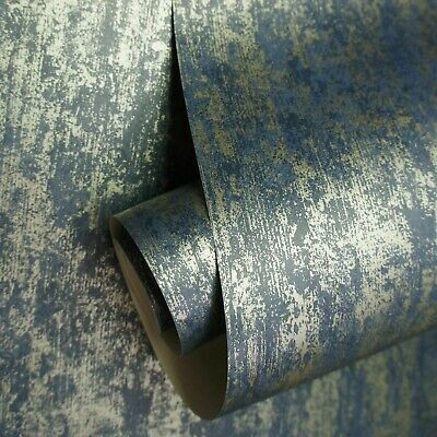 Holden Decor Industrial Texture Navy Blue Metallic Gold Wallpaper 12842