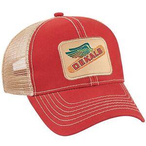 DEKALB SEED Red Vintage Trademark Logo Cap Hat New Ballcap Corn Distressed