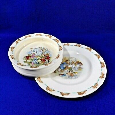 Vintage BUNNYKINS Porcelain Plate Cereal Bowl Royal Doulton England - 1959-1975