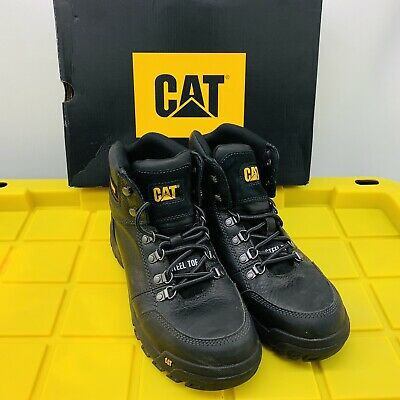 Mens Cat Caterpillar Black Boots Outline Steel Toe Work Boot P90800 Size 10.5