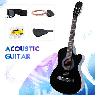 Electric Acoustic Guitar With Guitar Case Strap Tuner Cutaway Design Black