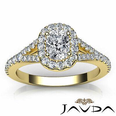 Halo Split Shank French U Pave Cushion Diamond Engagement Ring GIA F VS2 1.21 Ct 10