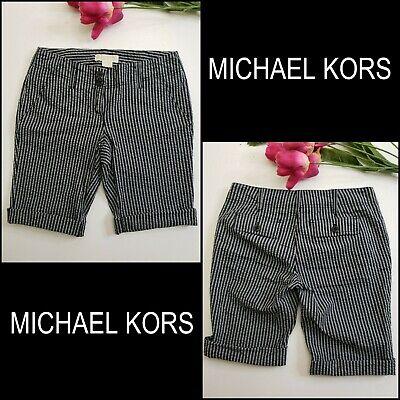 Michael Michael Kors Women Stripe Seersucker Bermuda Shorts Black Size -
