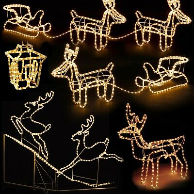 Christmas LED Light Up Reindeer Sleigh Lantern Rope Light Outdoor Decorations  ()