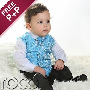 Boys-Turquoise-Blue-4pc-Wedding-Pageboy-Communion-Formal-Paisley-Waistcoat-Suit