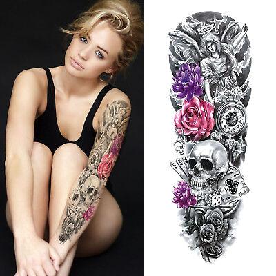 Temporary Tattoo Sleeve - Roses Skull Flowers Clock 3D Waterproof Womens - Skull Flowers
