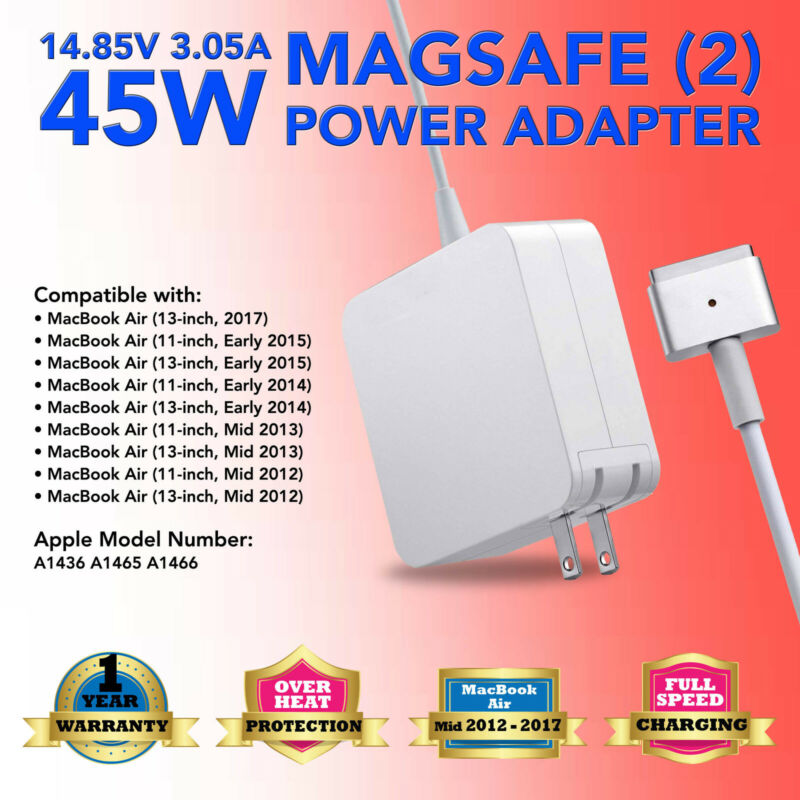 """A1436 For Apple Macbook Air 2013 to 2017 11"""" 13"""" A1465 45W AC Adapter Charger US"""