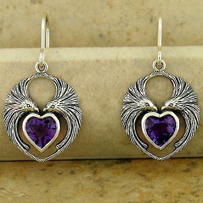 GENUINE AMETHYST HEART SHAPED LOVEBIRD EARRINGS 925 STERLING SILVER,        #944