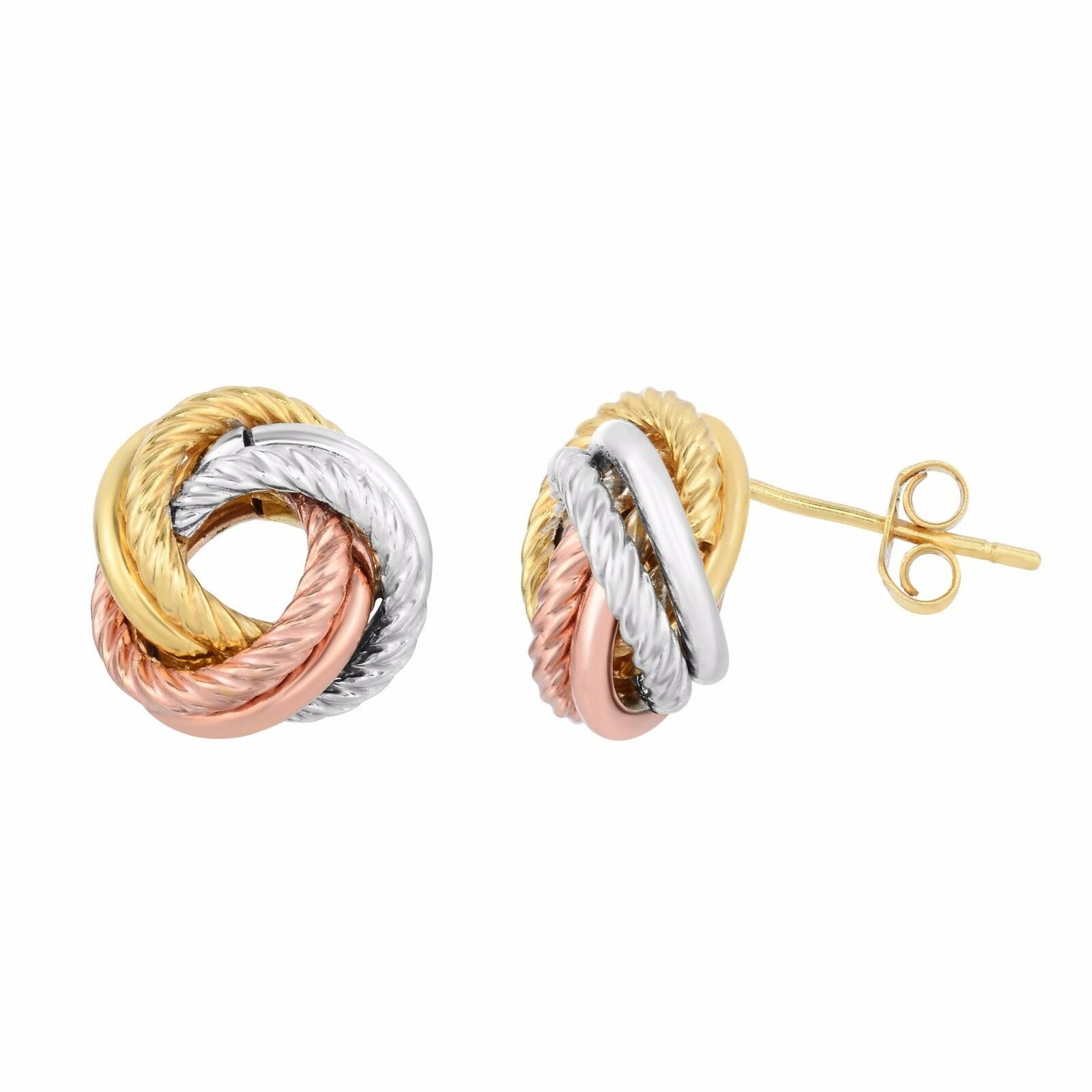 Italian Textured Two Row Knot Rosetta Rose Stud Earrings Real 10k Tricolor Gold