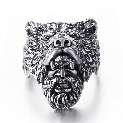 Men's Silver Stainless Steel Viking Bear Warrior Mask Ring](Warrior Man)