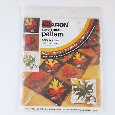 """Vintage Caron Latch Hook Oak Leaf Pattern 3028 15"""" x 15"""""""