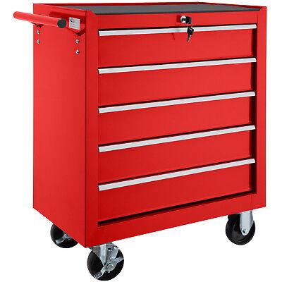 Chariot d'atelier 5 tiroirs à outils servante caisse à roulettes atelier rouge d'occasion  Momignies