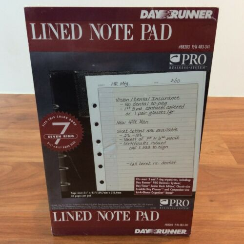"Day Runner Lined Pad 7 Hole Punched 30 Pages 5.5"" X 8.5"" #483-341 - Sealed"