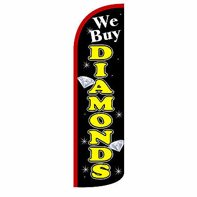 We Buy Diamonds Extra Wide Windless Swooper Flag