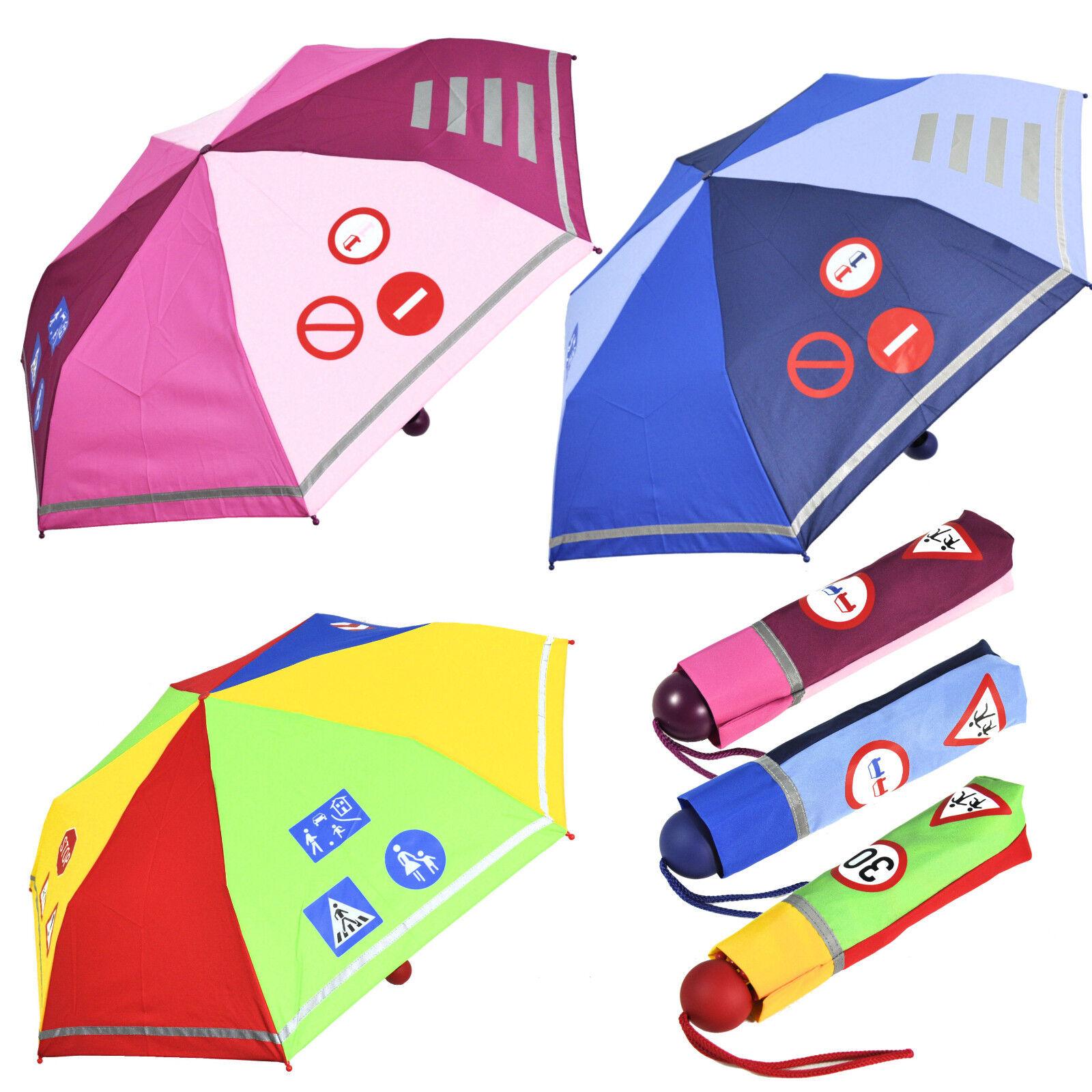 Kinder Regenschirm mit Reflektionsstreifen extra leicht für Jungen & Mädchen