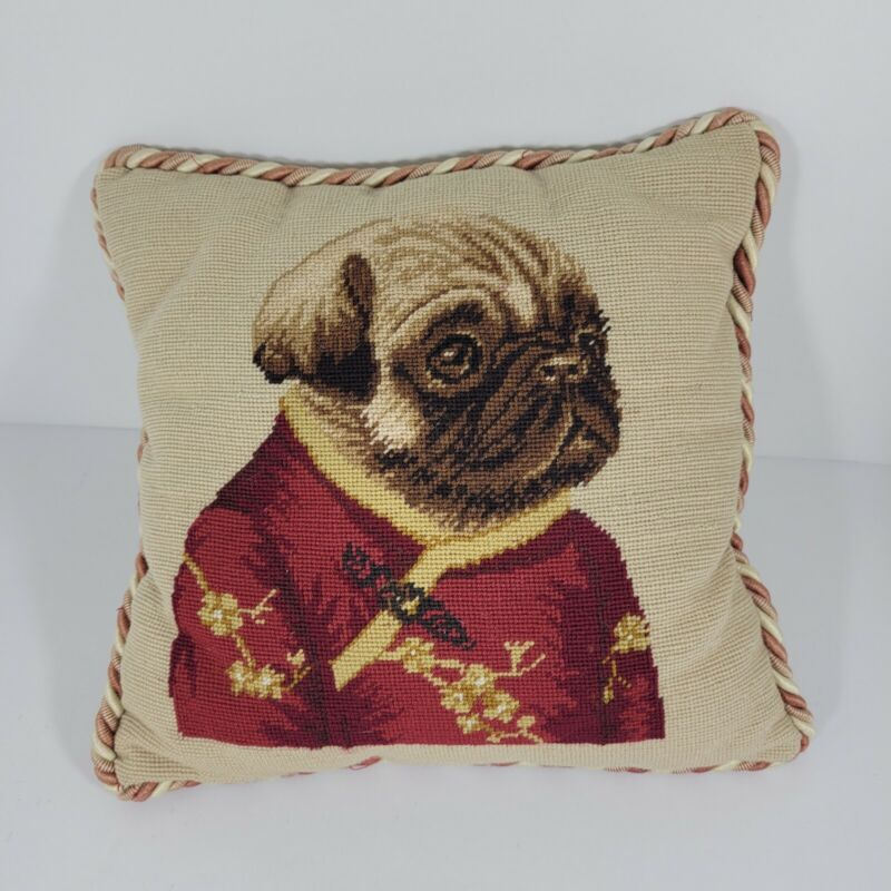 Loie Pug Pillow 11x11 Inches