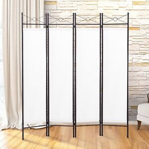 White Room Divider Screen Metal Fabric Folding Partition Portable Privacy