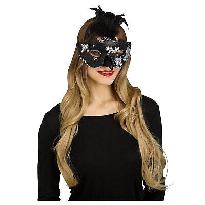 Adult Womens Sequin Raven Crow Black Bird Masquerade Halloween Costume Eye Mask - Raven Mask Costume