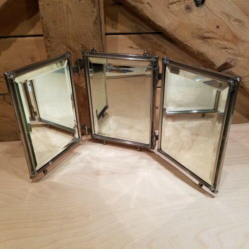 Tri Folding Travel Mirror Silver Plate Flowers Vanity Makeup Vtg - Swanky Barn
